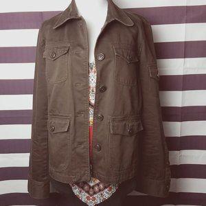 J. Crew Brown brown military style utility jacket